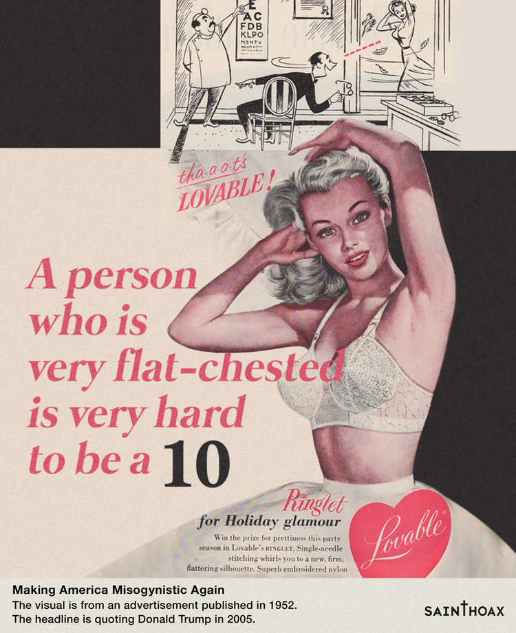 Artist attaches Trump's quotes about women to sexist 1950s ads and they fit too well.