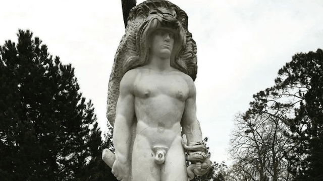 Officials come up with brilliant solution when vandals won't stop stealing this Heracles statue's penis.