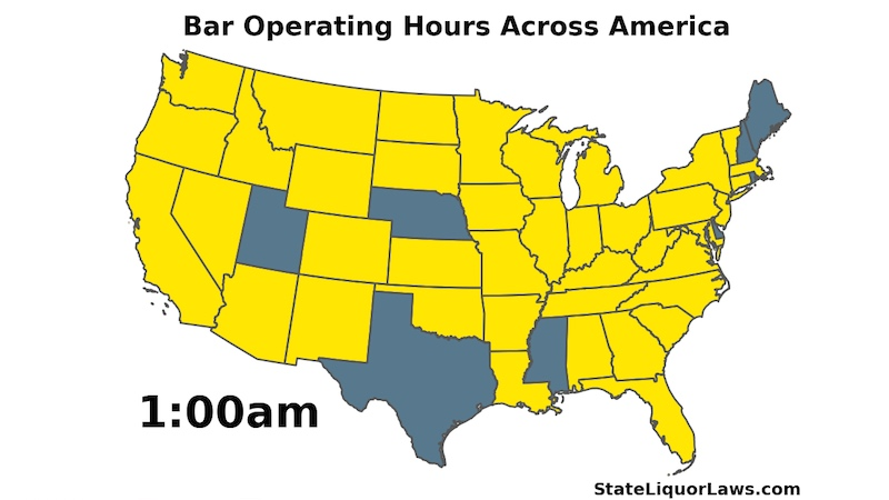 Stay drunk forever with this animated map of when bars open and close in every state.