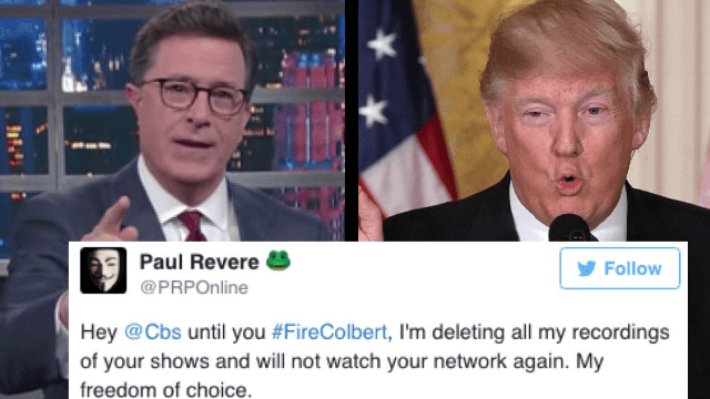 People want Stephen Colbert to be fired after making this 'homophobic' joke about Donald Trump.
