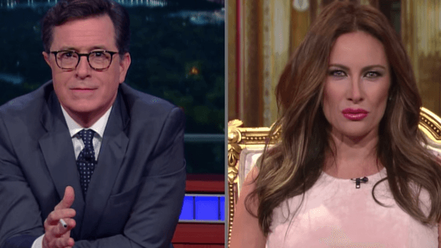 Stephen Colbert hilariously interviews 'Melania Trump' on why only a woman can be president.