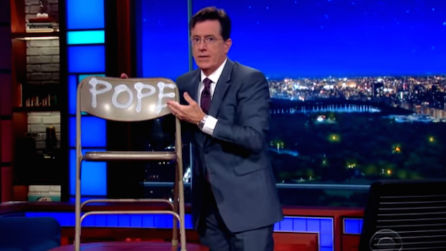 Colbert welcomes the Pope to New York, tries to convince him to come on the show.