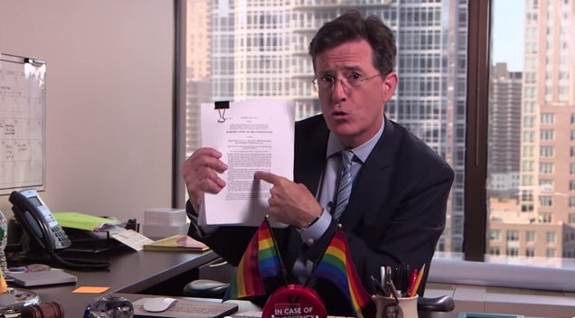 Stephen Colbert weighs in on marriage equality and Scalia's promise to put his head in a bag.