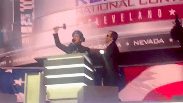 Stephen Colbert gets thrown off the RNC stage before it even begins.