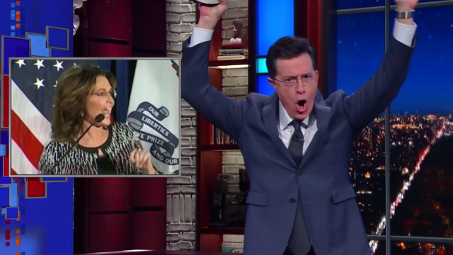 Stephen Colbert is so, so happy that Sarah Palin is back.