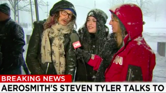 Aerosmith singer Stephen Tyler and his daughter wander into NYC blizzard report. Why not?