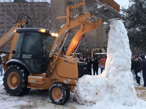 Students who built 11-foot-tall snow penis fail to stop university from bulldozing it.