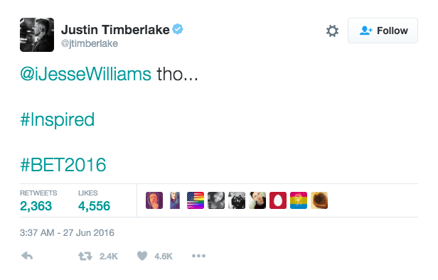 People are mad that Justin Timberlake liked Jesse Williams' BET awards speech.