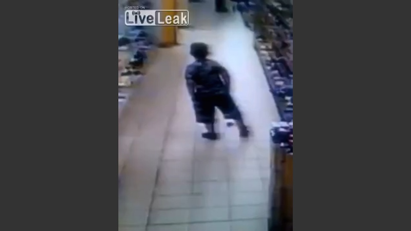 Ninja kid discreetly poops in supermarket and walks off as cool as can be.