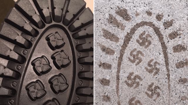 Boots with swastika tread pattern recalled due to 'design flaw.'