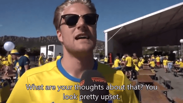Swede loses it at soccer game, proves that people freaking out over sports is the same in any language.