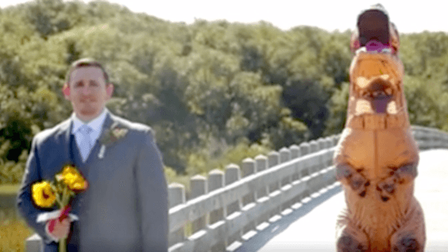 Bride uses t rex costume to pull ultimate first look prank on bride uses t rex costume to pull ultimate first look prank on groom his reaction is priceless junglespirit Image collections