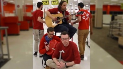"Target employees cover ""Closing Time"" in their near-empty store as it shuts for good."
