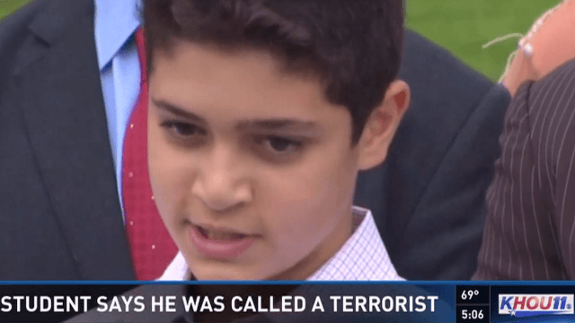 Teacher calls 12-year-old Muslim honors student a terrorist, expects that won't be a problem.