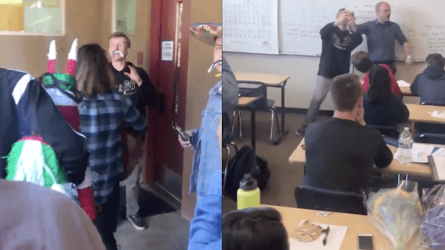 Viral video of students throwing teacher a 'surprise party' has a bizarre twist ending.