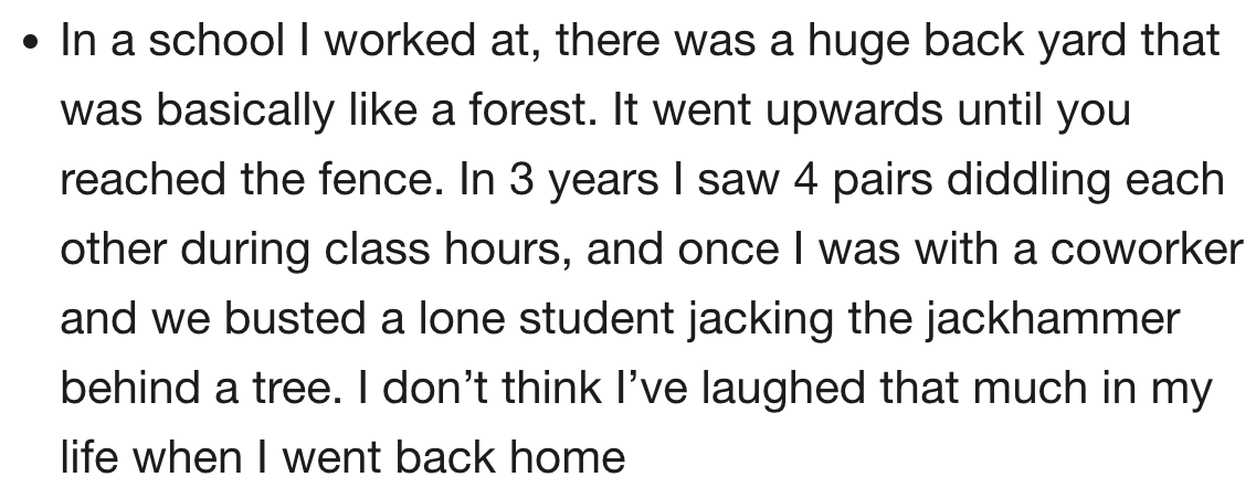 17 teachers share their juiciest NSFW stories  Leave your thongs at