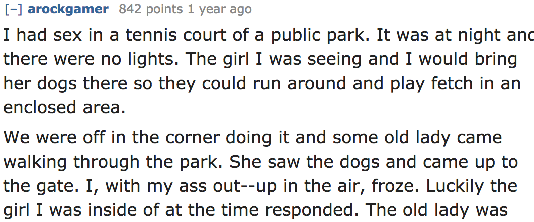 Great stories of sex in public