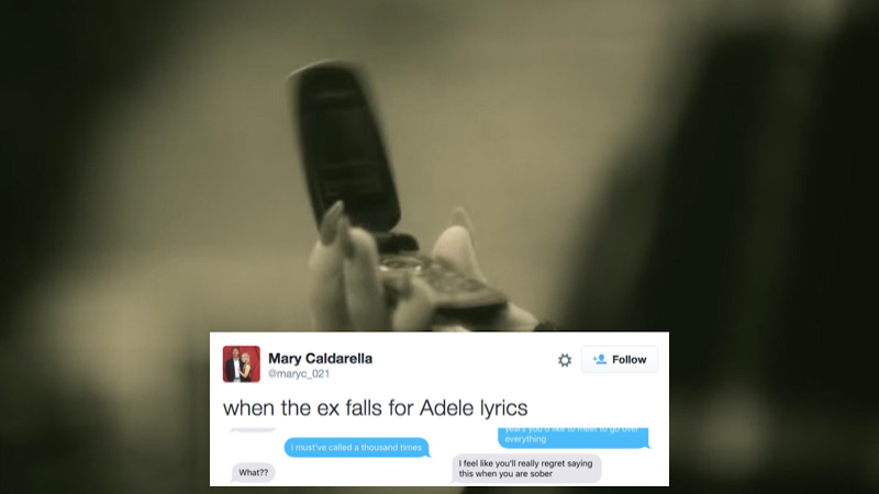 Woman texts Adele lyrics to her ex, and he responds like it's a regular conversation.