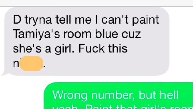 Man Trying To Paint His Daughters Bedroom Texts The Wrong Number