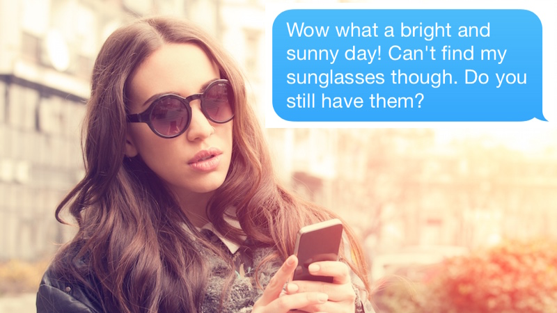 Guy spends 11 months texting girl who stole his sunglasses, finally gets amazing response.