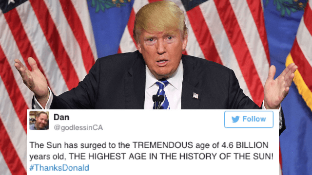 Twitter trolls Donald Trump with #ThanksDonald after self-congratulatory tweet.
