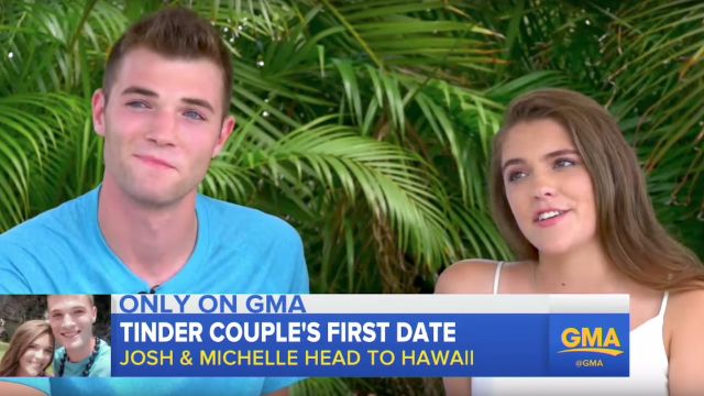 That viral Tinder couple had their first date. One of them seems into it.