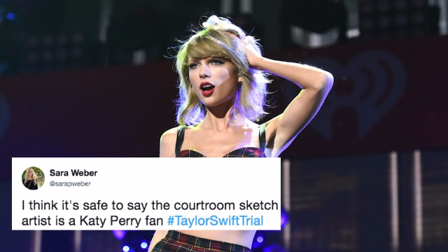 The first Taylor Swift courtroom sketch is out. She looks so bizarre, Twitter can't handle it.