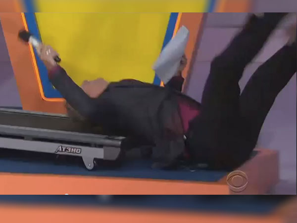The 'Price Is Right' announcer demonstrates why you should never jog backwards on a treadmill.