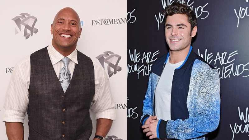 The Rock is leaving thirsty comments on Zac Efron's photos just like a normal fan.