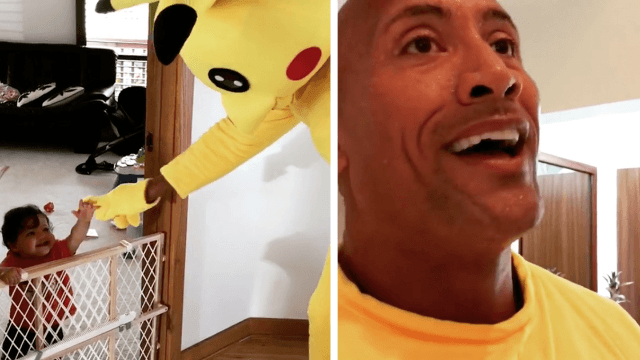 Dwayne 'The Rock' Johnson's daughter absolutely refused to let him stop dancing in his Pikachu costume.