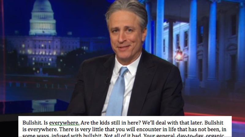 The weirdest thing went viral after Jon Stewart's 'Daily Show' farewell: an actual speech.