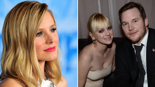 Kristen Bell offers sage advice on why Chris Pratt and Anna Faris' divorce 'shouldn't be a heartbreak for everyone.'