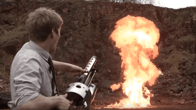 Colin Furze's homemade thermite launcher is somehow not an April Fool's Day prank.