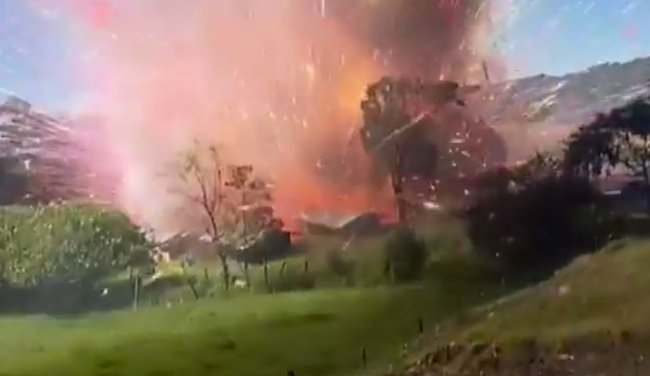 This video of an explosion at a fireworks factory is insane.