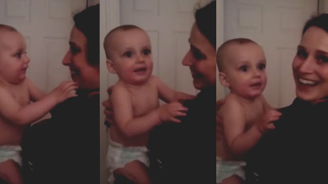 This baby meets his mom's twin sister for the first time, and he just can't handle it.
