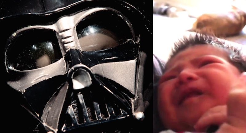 This dad has a simple trick for getting his newborn baby to fall asleep using 'Star Wars.'