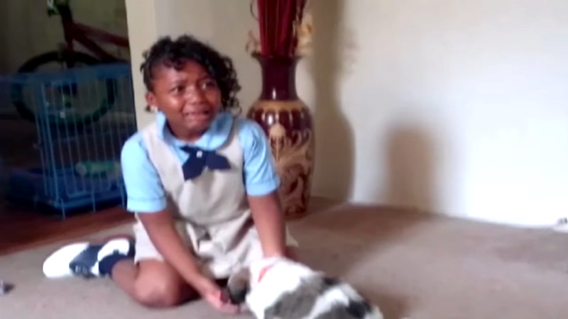 """This girl freaked out so hard over her new puppy that even her family was like, """"Relax."""""""