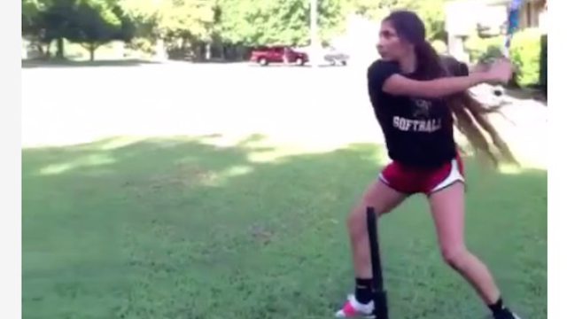 This girl's softball skills are so amazing that they're indistinguishable from magic.