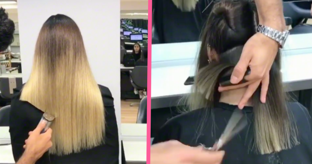 This insane haircutting technique is going viral. Don't try this at home.