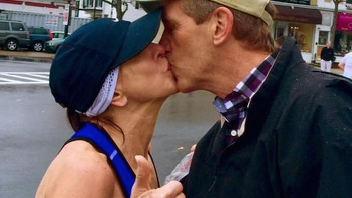 Marathoner tries to find hunk who gave her a good luck kiss, gets letter from his wife instead.