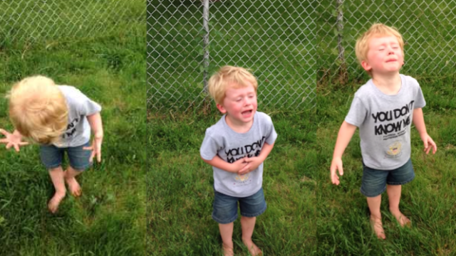 Little boy has hilarious sh*t-fit after stepping in it.