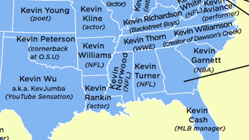 This map show the most famous Kevin from every state.