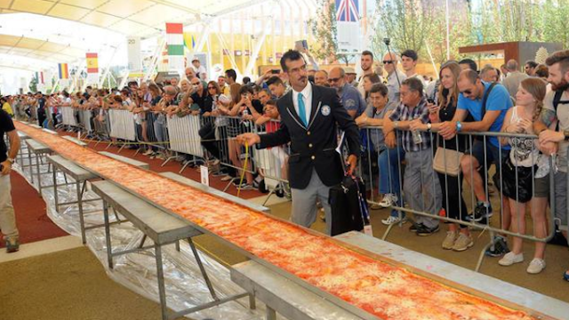 This record-breaking pizza is one mile long.