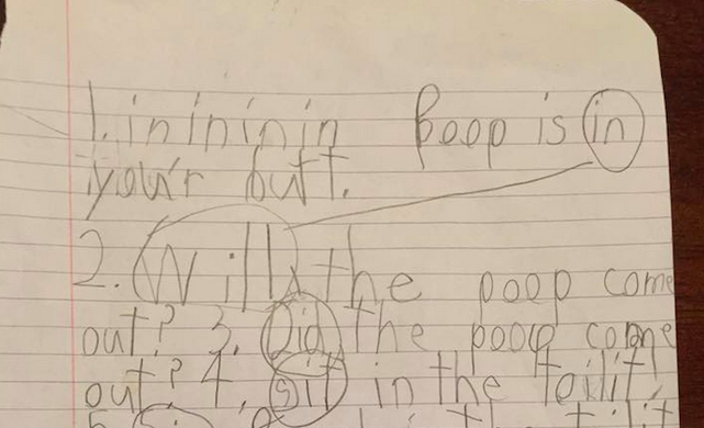 This six-year-old got a note sent home from his teacher after turning this in for a spelling exercise.