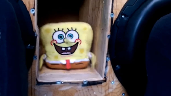 Two huge car subwoofers make SpongeBob doll come alive and dance its pants off.