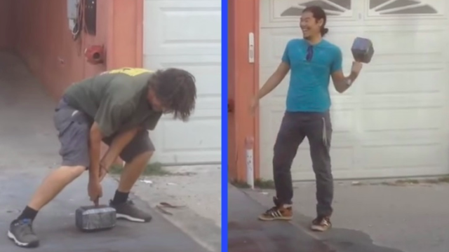 Nerdy prankster creates replica of Thor's hammer only he can lift, but people still try.