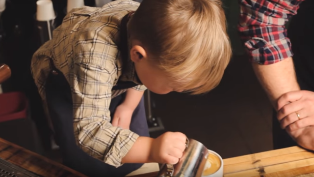 Three-year-old barista is the world's youngest and definitely cutest.