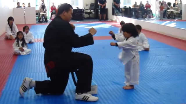 Watch an adorable 3-year-old karate apprentice give hell to a board he's trying to break.