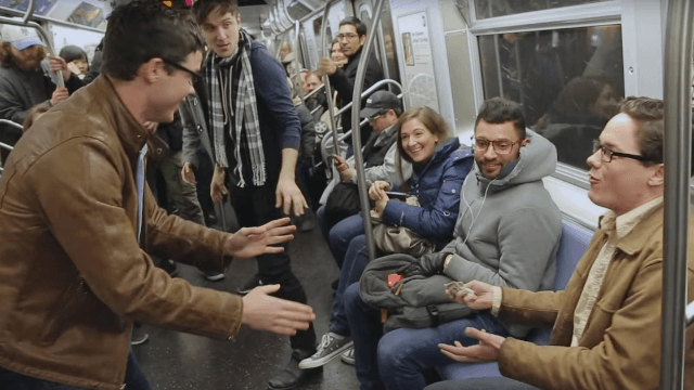 This time travel prank with twins reminds you not to trust anyone speaking on the subway.