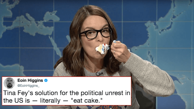 The internet is pissed at Tina Fey for suggesting we fight Nazism with sheet cake.